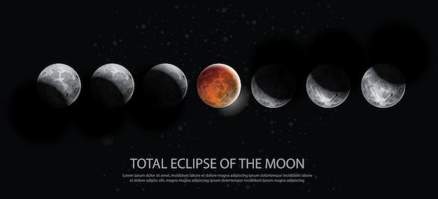 Totale verduistering van de maan vectorillustratie Premium Vector