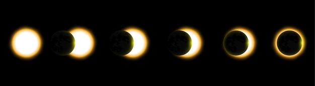 Totale zonsverduistering, eclips van de zon. vector illustratie Premium Vector