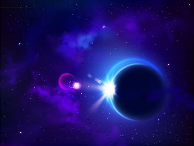 Totale zonsverduistering of maansverduistering. maanbedekking zon mysterieuze natuurverschijnsel in de ruimte, planetaire impasse, hemelmelkweg, gloeiende sterren, astronomie, kosmische achtergrond. realistische 3d vectorillustratie Gratis Vector