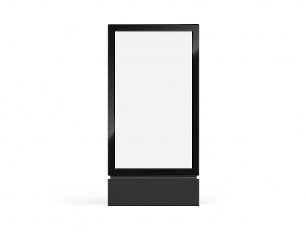Totembord, lightbox of verticaal stadsbord en lichtbakborden in realistisch totemframe Premium Vector