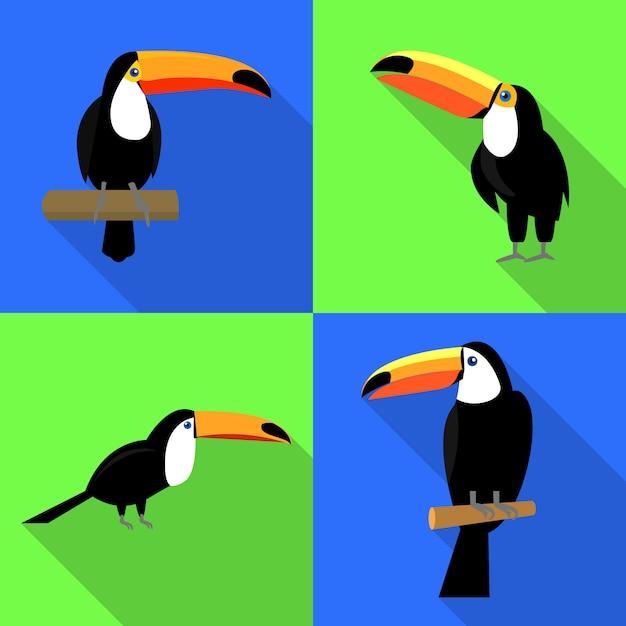 Toucan icons set, vlakke stijl Premium Vector