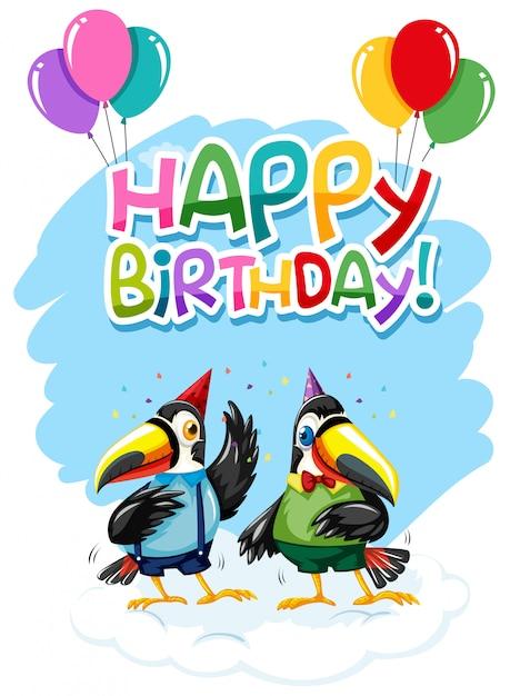 Toucan op verjaardagssjabloon Gratis Vector
