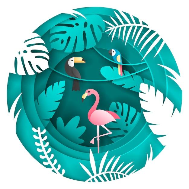 Toucan, parrot en flamigo bird in het tropische woud. Premium Vector