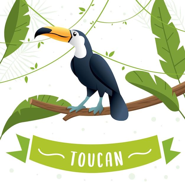 Toucan zittend op een boomtak. leuke toekan vlakke vector, de fauna van zuid-amerika. wilde dierenillustratie, aardconcept, kinderenboek het illustreren. zomer illustratie Premium Vector