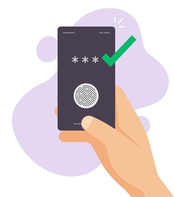 Touch vingerafdruk id beveiligde identificatiecontrole op mobiele telefoon in persoon hand vector Premium Vector