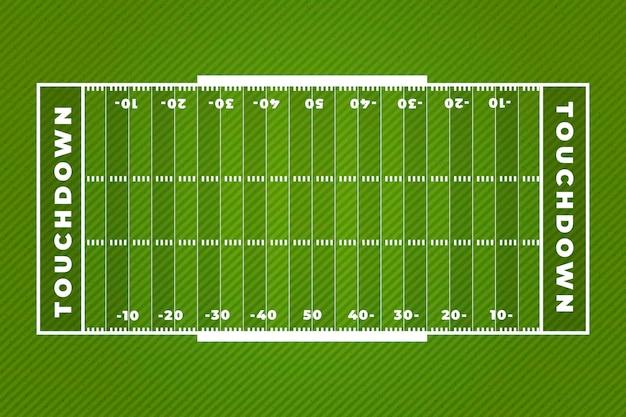 Touchdown amerikaans voetbal veld plat ontwerp Premium Vector
