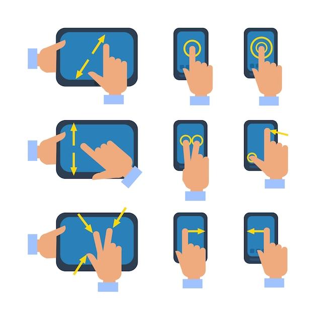 Touchscreen gebaren pictogrammen instellen Gratis Vector
