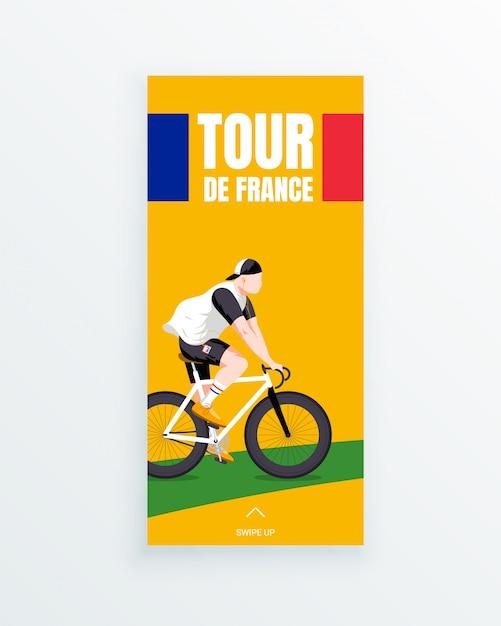 Tour de france herenfietsfiets-verhaalsjabloon met meerdere fasen, met jonge fietsracer die op een groen fietspad rijdt. sportwedstrijden en buitenactiviteiten. sportkleding en uitrusting. Premium Vector