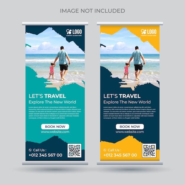 Tour en reizen oprollen banner stand sjabloon Premium Vector