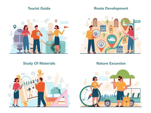 Tour vakantie gids concept set. toeristen luisteren naar de geschiedenis van de stad en attracties. Premium Vector