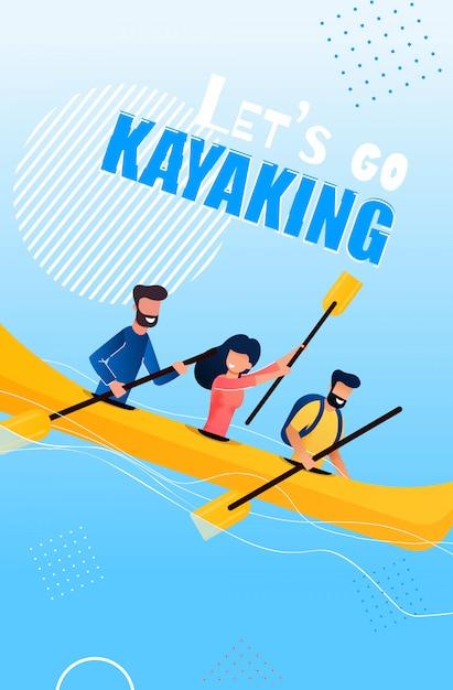 Tourist flyer is written lets go kayaking cartoon Premium Vector