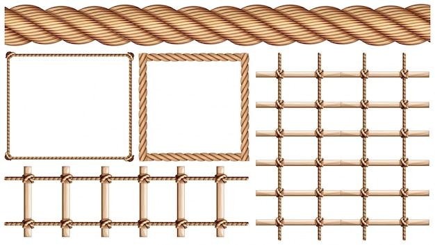 Touw en veel toepassingen van touwillustratie Gratis Vector