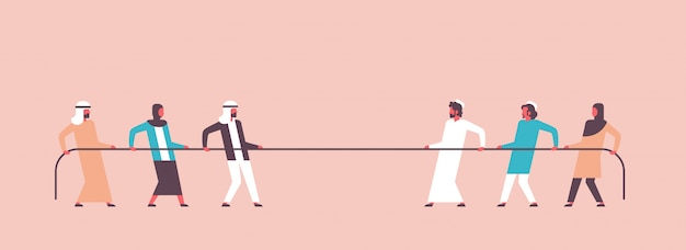 Touwtrekken arabische mensen team trekken tegenovergestelde uiteinden van touw Premium Vector