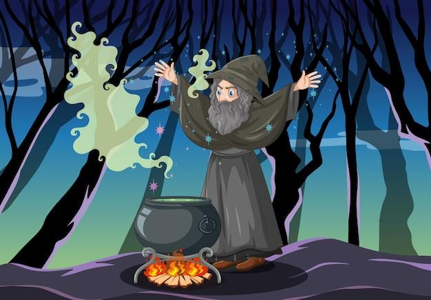 Tovenaar met zwarte magische pot cartoon stijl op donker bos Gratis Vector