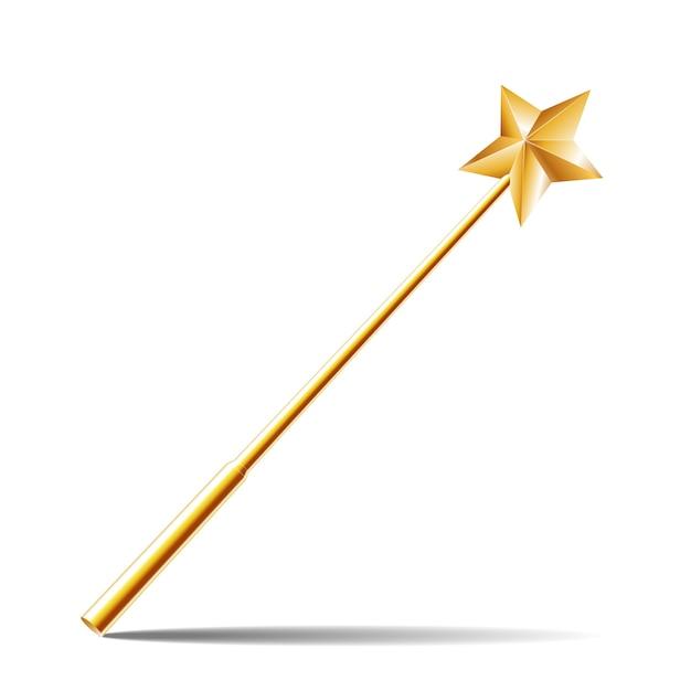 Toverstaf met gouden ster op witte achtergrond. illustratie Premium Vector