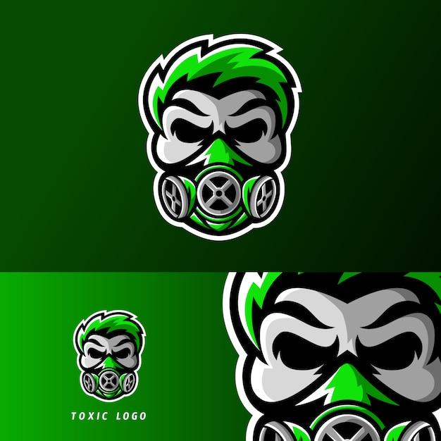 Toxische schedelmasker sport of esport gaming mascotte logo Premium Vector