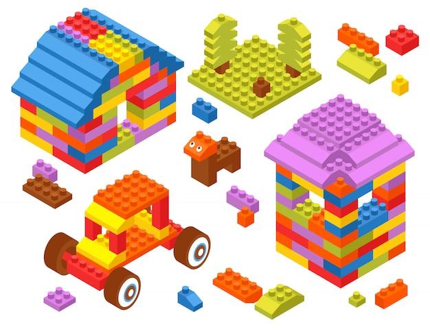 Toy constructor isometrische blokken Gratis Vector