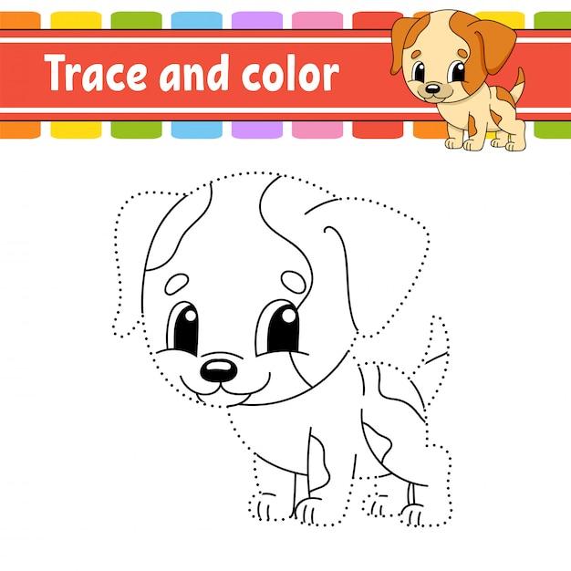 Trace en kleur. honden dier. kleurplaat voor kinderen. handschrift praktijk. Premium Vector