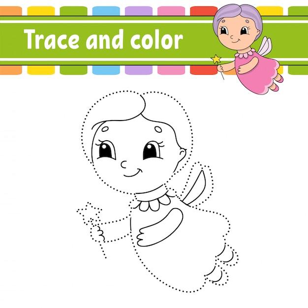 Trace en kleur. kleurplaat voor kinderen. Premium Vector