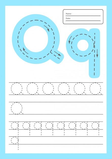 Trace letters werkblad a4 voor kinderen voorschoolse en schoolgaande leeftijd. Premium Vector