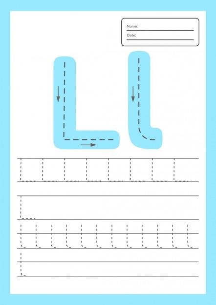 Trace letters werkblad voor kinderen voorschoolse en schoolgaande leeftijd. Premium Vector