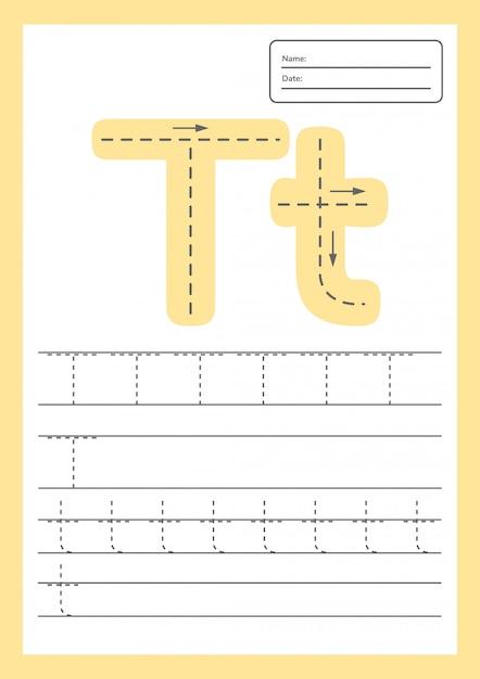 Trace letters werkblad Premium Vector