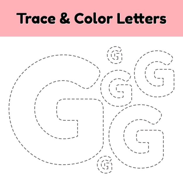 Trace-lijnbrief voor kleuters en kleuters. schrijf en kleur. Premium Vector