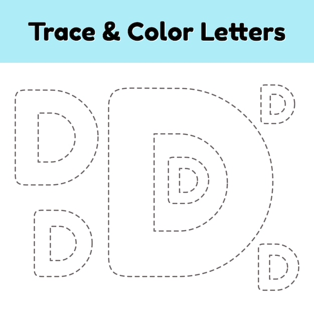 Traceer lijnbrief voor kleuterschool en voorschoolse kinderen. schrijf en kleur. Premium Vector
