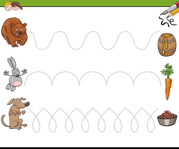 Traceerlijnen schrijfvaardigheidswerkboek voor kinderen Premium Vector