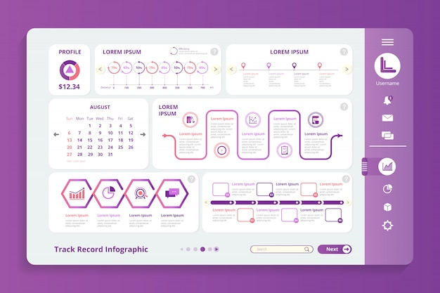 Track record infographic sjabloon Premium Vector