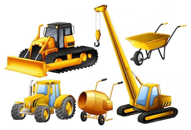 Tractor en andere voertuigen die in bouwwerf worden gebruikt Gratis Vector