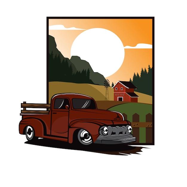 Tractorlandbouwer op fieldfarm Premium Vector