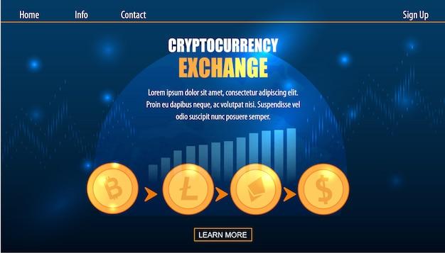 Trading cryptocurrency exchange op fiat money Premium Vector