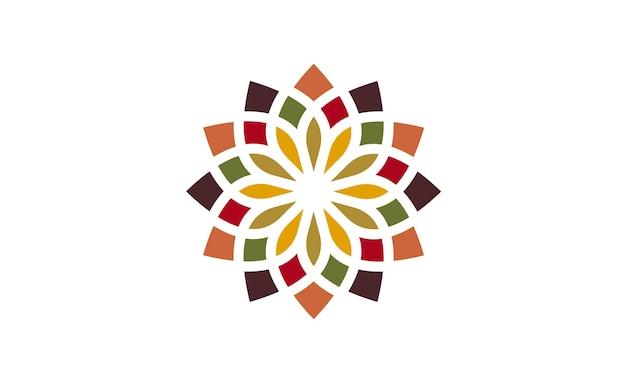 Traditioneel aziatisch kleurrijk bloemenpatroon logo ontwerp Premium Vector