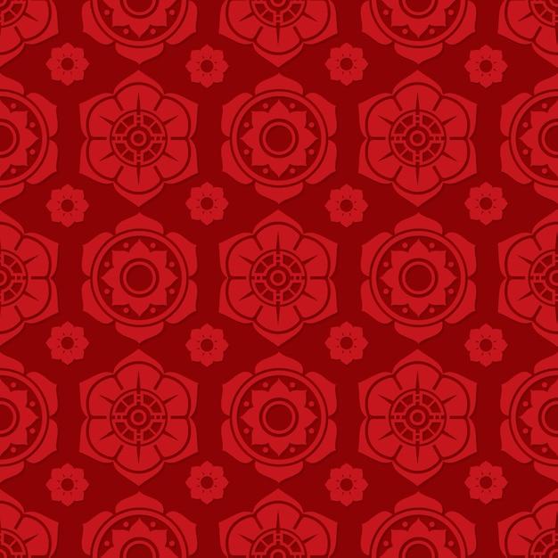 Traditioneel chinees en japans bloemen naadloos patroonontwerp Premium Vector