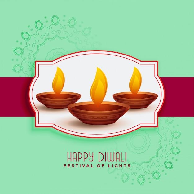 Traditioneel gelukkig de groetkaartontwerp van het diwalifestival Gratis Vector