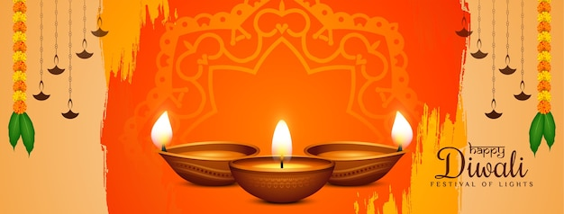 Traditioneel gelukkig diwali-ontwerp van de festival decoratieve banner Gratis Vector
