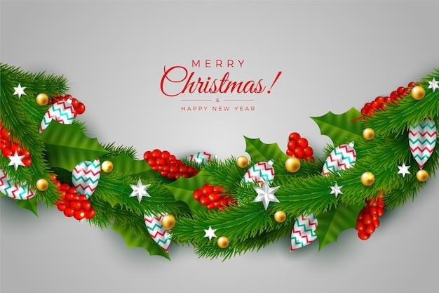Traditioneel groen klatergoud voor de achtergrond van de kerstboom Gratis Vector