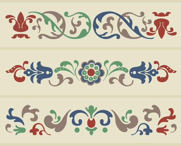 Traditioneel russisch ornament in drie versies in vector Gratis Vector