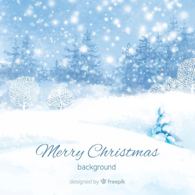 Traditionele aquarel kerstmis achtergrond Gratis Vector
