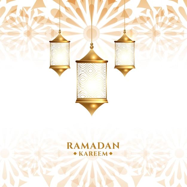 Traditionele arabische hangende lantaarn ramadan kareem achtergrond Gratis Vector