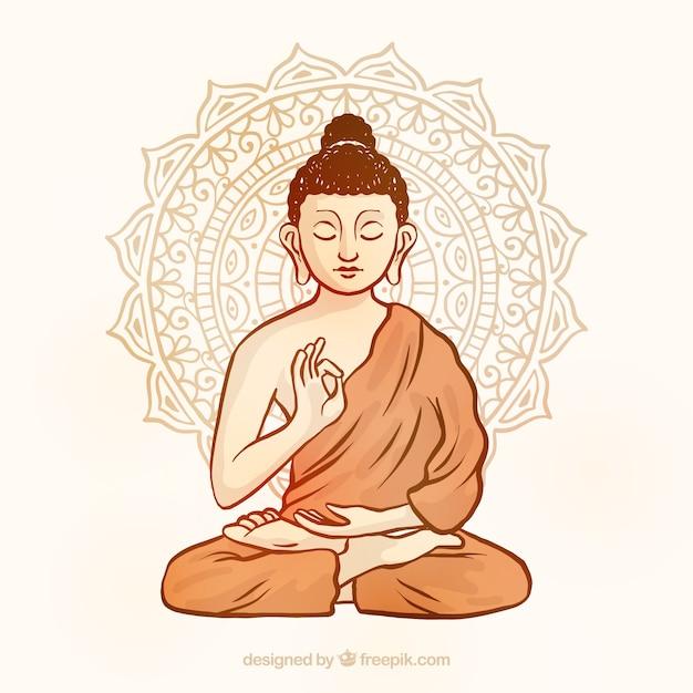 Traditionele budha met hand getrokken stijl Gratis Vector