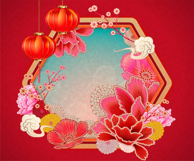 Traditionele chinese achtergrond met pioenroos en lantaarnselementen in rode toon Premium Vector