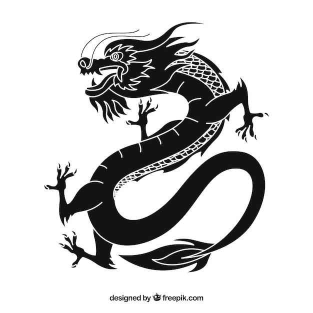 Traditionele chinese draak met silhouetontwerp Gratis Vector