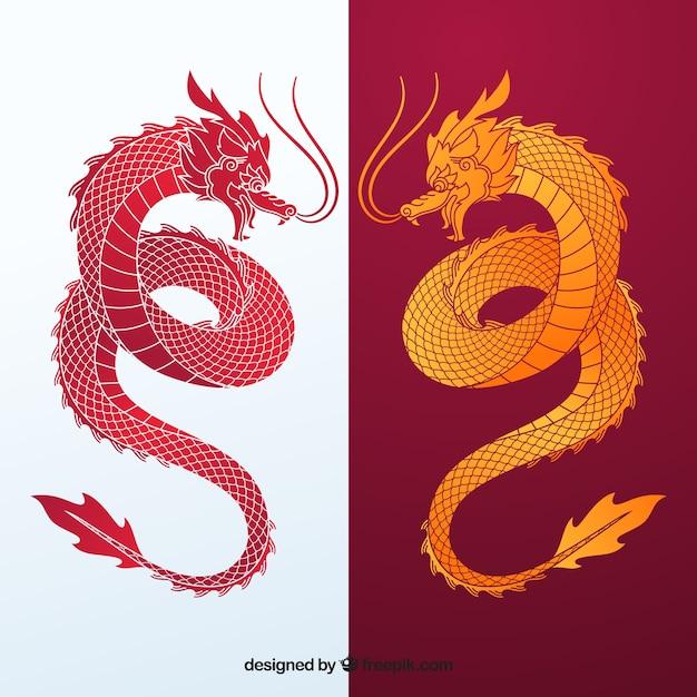 Traditionele chinese draak silhouet collectie Gratis Vector