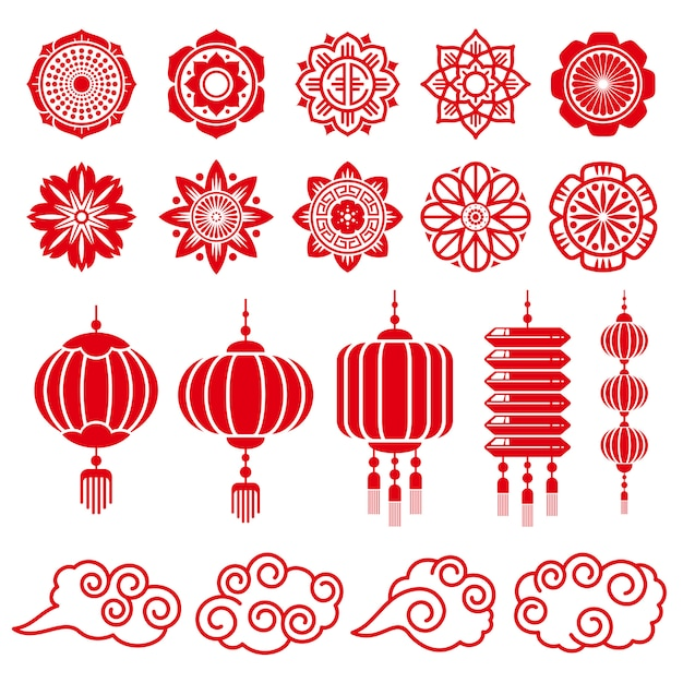 Traditionele chinese en japanse decoratieve elementen Premium Vector