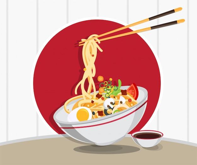 Traditionele chinese soep met noedels, noedelsoep in chinees kom aziatisch voedsel Premium Vector