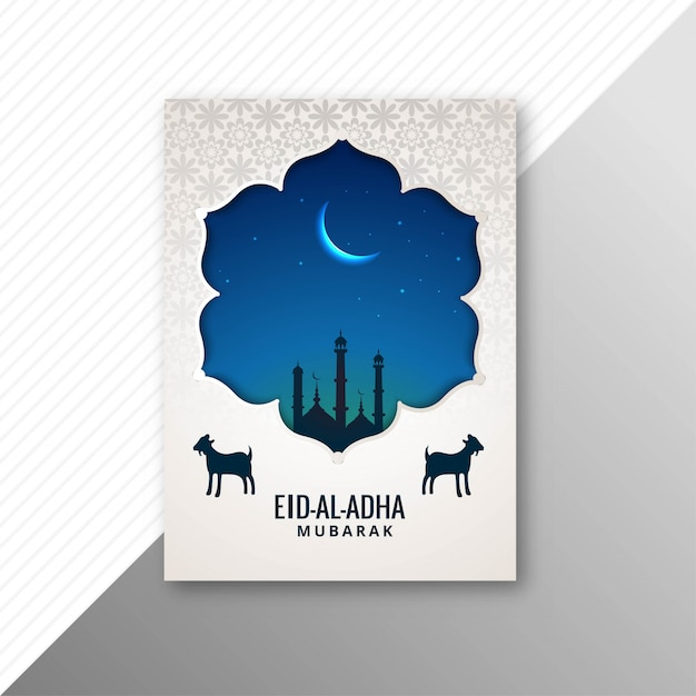 Traditionele eid al adha mubarak met geitenbrochureontwerp Gratis Vector