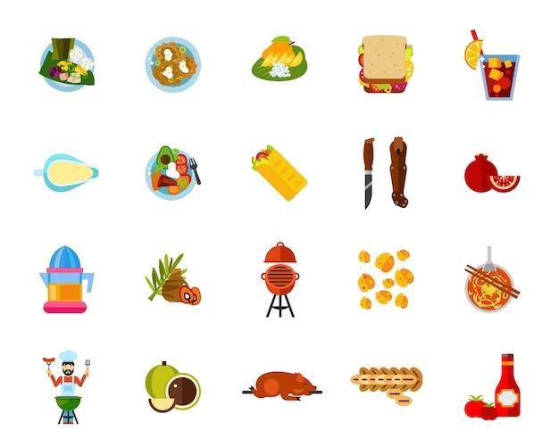 Traditionele gerechten pictogramserie Gratis Vector