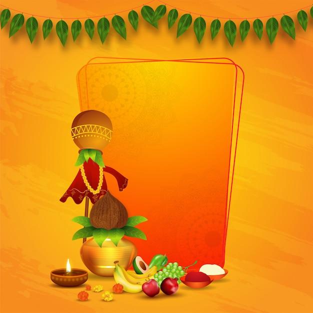 Traditionele gudhi met aanbidding pot (kalash), fruit, bloemen, verlichte olielamp, zout en chili poeder bowl op oranje textuur achtergrond met ruimte voor tekst. Premium Vector